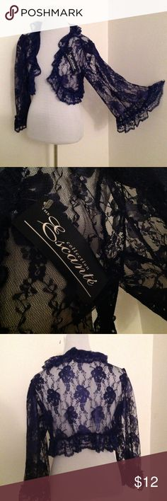 """Navy lace bell sleeve lingerie/dress """"jacket"""" Unusual and pretty little """"jacket"""" in navy colored lace. The bell sleeves are so lovely. Perfect condition. I think it would be cute over a spaghetti strap dress or used with your favorite sexy lingerie! escante Other"""