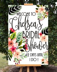 Bridal Shower Sign Bridal Shower Welcome Sign Bridal Countdown Wedding Countdown Brunch with bride Personalized Tropical Bridal Shower Bridal Shower Welcome Sign, Bridal Shower Signs, Bridal Shower Party, Bridal Shower Rustic, Bridal Shower Invitations, Brunch Invitations, Wedding Shower Prizes, Bridal Shower Banners, Bride Shower