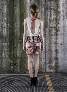 CONSTRUCTION TECHNIQUES.  Digital notebook printed blouse and digital bricks skirt.