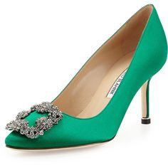 Manolo Blahnik Hangisi Satin Crystal-Toe Pump ($965) ❤ liked on Polyvore featuring shoes, pumps, green, shoes pumps classic, green satin pumps, pointed-toe pumps, green satin shoes, satin pumps and green pumps