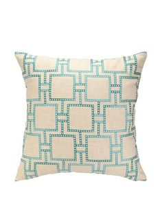 Peking Handicraft Dotted Line Pillow, Turquoise at MYHABIT