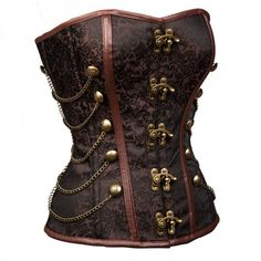 Women's Steampunk Overbust Lace Up Brocade Steel Boned Corset with Chains CF8094 Brown_02