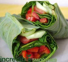 Strawberry Collard Wraps   (Maybe adapt this idea into a spring roll with strawberry spinach salad - a salad wrap.)