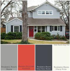 bm storm exterior paint - Google Search Exterior Paint Color Combinations, House Paint Color Combination, Exterior Color Schemes, Exterior Paint Colors For House, Grey Exterior, House Color Schemes, Paint Colors For Home, Modern Exterior, Exterior Design