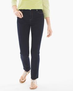 Now that you've found them, you'll never go back. These always-right jeans lay the groundwork for great style, with a slight stretching fabric and a classic clean-cut fit. The clincher: A sleek ankle length allows for endless shoe possibilities.    Exclusive Hidden Fit™ technology slims and smoothes at the tummy with secret interior stitching.  Best-selling fabric stretches without stretching out, in a comfortable weight that smoothes as it shapes.  Rise sits just below the natural waist…