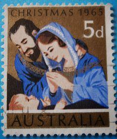 Weihnachtsbriefmarke mit heiliger Familie