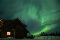 Glimpse The Northern Lights at Aurora Borealis Lodge This amazing 1,000-sq.ft log lodge is made for seeing the lights! It's located on a 20 miles outside of beautiful Cleary Summit, far away from the city lights. The lodge was also built facing the North for the best skywatching experience. The lodge sleeps 6 guests, so you don't have to witness the awe-inspiring sight all alone.