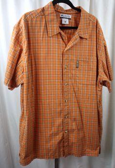 Columbia Mens Plaid Short Sleeve 100% Cotton Button Front Shirt Size 2XL #Columbia #ButtonFront