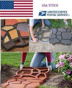 """merlinsgardenmarket: """" DIY Plastic Path Maker Mold Manually Paving Cement Brick Stone Road Auxiliary Tools Use heavy-duty plastic mold that turns a little pre-mixed concrete into a concrete garden stepping stones for easiest access way to your. Concrete Patios, Concrete Stepping Stone Molds, Stepping Stone Walkways, Concrete Garden, Concrete Molds, Concrete Steps, Paver Stones, Concrete Slab, Diy Driveway"""