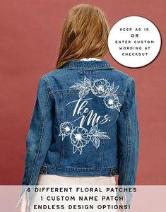 LOVESTRUCK – Bash Creative Design Jean Jacket Design, Custom Name Patches, Painted Leather Jacket, Jean Jacket Outfits, Wedding Jacket, Spring Outfits Women, Floral Denim, Ladies Dress Design, Dream Wedding