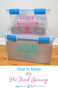These are the cutest stackable DIY pet food storage ideas. I can make these cute containers to store the large bags of dog or cat food and it will stay fresh outdoors or in the garage. #PetFoodStorage #DogFoodStorage #CatFoodStorage #StorageIdeas Pet Food Storage, Food Storage Containers, Storage Ideas, Diy Vinyl Projects, Diy Furniture Projects, Workshop Organization, Dog Store, How To Make Diy, Diy Stuffed Animals