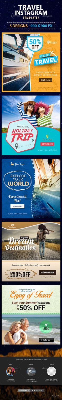 Travels Instagram Templates - 5 Designs #design #web #ads Download: http://graphicriver.net/item/travels-instagram-templates-5-designs/12646448?ref=ksioks