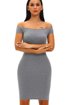 Robe Moulante Mi Longue Gris Manches Courtes Croise Dos Epaules Denudees Pas Cher www.modebuy.com @Modebuy #Modebuy #Gris #mode #style #sexy