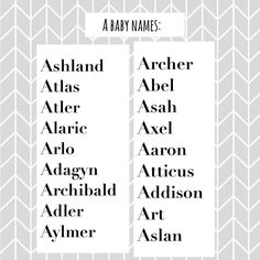 My favourite Boy (A) baby names #abcbabynames #ANames ... more #Regram via @baby_name_lover