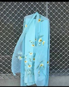 Firozi shade with hand paint punjabi suit - Diy Fabric Painting On Clothes, Dress Painting, Painted Clothes, Fabric Art, Painting Art, Embroidery Suits Punjabi, Embroidery Suits Design, Embroidery Fabric, Embroidery Patterns
