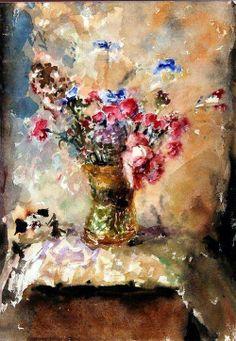 Arthur Fonvisin (1882 — 1973, Russia) wildflowers. 1957  watercolor.   Артур Владимирович Фонвизин
