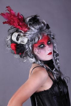 black white and red victorian goth day of the dead by CandyCrypt