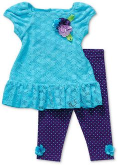 ShopStyle: Sweet Heart Rose Baby Set, Baby Girls 2-Piece Lace Dress and Floral Leggings