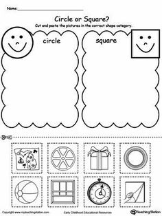 Shape Sorting: Place the Circles and Squares Into The Correct Category Worksheet.Use the Shape Sorting printable worksheet to teach children about the differences between square objects and circle objects by sorting them into different categories. Shapes Worksheet Kindergarten, Pre K Worksheets, Shapes Worksheets, In Kindergarten, Printable Worksheets, Preschool Printables, Preschool Learning, Preschool Activities, Preschool Shapes