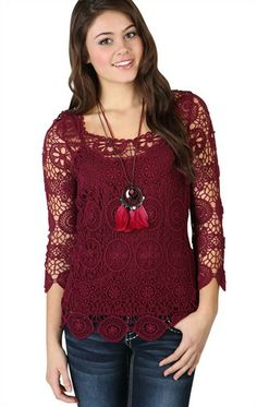Deb Shops Three Quarter Sleeve Embroidered #Crochet #Sweater $19.42 so pretty I want!!!