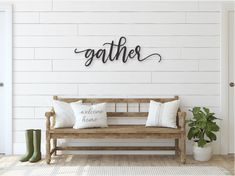 """Your home is where your memories are made, decorate a high traffic area in your home with our handcrafted wooden wall sign to incorporate sentiments that are important to you. This heartfelt wood gather sign features a 1/2"""" wood construction, and finish to suit your space. This clean farmhouse decor will add a small touch of charm to your space. Gather around for a night of dinner or games with your family in a room that is blessed with love! We offer 4 stock sizes to choose from: 22"""" long… Wooden Decor, Wooden Walls, Rustic Decor, Farmhouse Decor, Wooden Letters, Rustic Wood, White Shiplap Wall, Diy Shiplap Walls, Shiplap Bathroom Wall"""