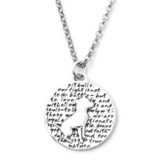 Pitbull (pit bull quote) Sterling Silver Large Pendant Necklace (Chain Length Option) ♥ design by Ms Lupie & Ms Linda
