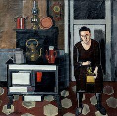 Jean Brusselmans. 1884-1953. Bruxelles. Femme dans la cuisine. Woman in a Küchen. 1935. Gent. Musée des Beaux Arts.