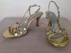 C' EST BON WOMENS GOLD EMBELLISHMENT STRAPPY DESIGN HEELS LADIES SHOE SIZE 8
