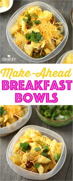 breakfast bowls Make-Ahead Breakfast Bowls recipe from The Country Cook and Easy, protein-filled and filling!Make-Ahead Breakfast Bowls recipe from The Country Cook and Easy, protein-filled and filling! Healthy Meal Prep, Healthy Breakfast Recipes, Healthy Eating, Healthy Recipes, Healthy Dinners, Healthy Brunch, Clean Eating, Healthy Breakfasts, Healthy Filling Breakfast