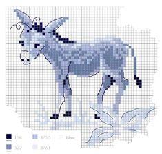 0 point de croix grille et couleurs de fils petit âne bleu