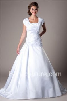 Ball Gown Square Neckline Dropped Waist Short Sleeve Satin Lace Modest Wedding Dress