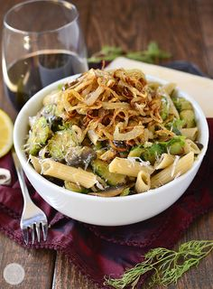 Mushroom and Brussels Sprouts Penne with Crispy Fried Shallots from @iowagirleats