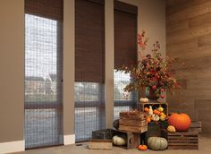 Provenance® Woven Wood Shades by Hunter Douglas are featured in this fall image.  Fall window treatment ideas.