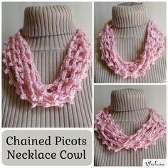 Free crochet pattern for a Chained Picots Necklace Cowl. The cowl works up quick and easy and can be worn in the summer or winter. Crochet Scarves, Crochet Shawl, Crochet Yarn, Crochet Clothes, Crocheted Headbands, Crochet Granny, Crochet Necklace Pattern, Crochet Bracelet, Vestidos