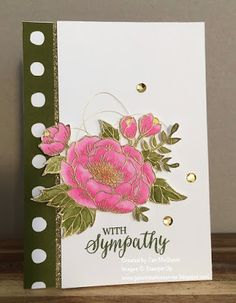 Sympathy card using Stampin Up's Birthday Blooms and Rose Wonder by Jan McQueen. More info @ www.janscreativecorner.blogspot.com