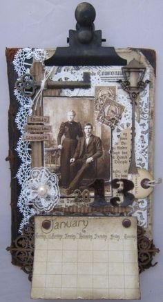 min lille scrappe-verden: Vintage kalender for 2013 Altered Boxes, Altered Art, Clipboard Crafts, Paper Art, Paper Crafts, Craft Projects, Projects To Try, Vintage Calendar, Art Calendar