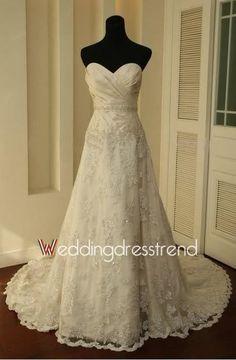 Fabulous Princess Sweetheart Applique Lace Wedding Dress