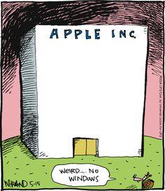 """【ツ ƦᗴĄԼԼƴ Ƒᘎᘉᘉƴ ĄᏕᏕƠƦƬᗴƊ ƇƠᘻĪƇᏕ ㋡ ~ """"Reality Check"""" by Dave Whamond ~ Apple Inc. Building with no 'Windows' Funny Cartoons, Funny Jokes, Computer Jokes, The Awkward Yeti, Programmer Humor, Tech Humor, Technology Humor, Bad Puns, Reality Check"""