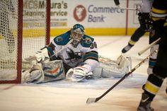 Worcester Sharks goaltender Harri Sateri after making a full split legged save (March 9, 2013).