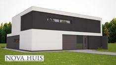Moderne kubistische woning met strenge strakke gevels energieneutraal bouwen NOVA-HUIS K226