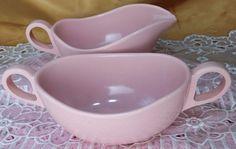 Vintage PINK Melamine Melmac sugar bowl and creamer mid century glamping *et