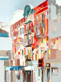 """""""Somewhere in NYC"""" by Josef Kote. Original acrylic painting with brilliant colors slamming together to form nearly abstract architectural details."""