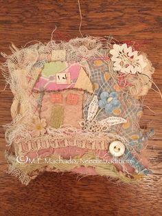 RESERVED for Karen OOAK altered textile art on mini painted