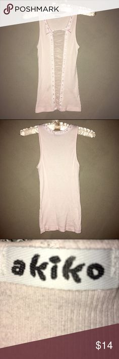 EVC | Akiko Super Sexy Tank / S Excellent Vintage Condition | Akiko light pink colored cotton tank, w/ super sexy mesh peep strip down front center and woven ribbon detail, in a size small. Worn 1-time! Akiko Tops Tank Tops