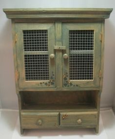 Wall Cabinet, Farmhouse Decor, Storage, Hanging Curio Cabinet, Wire mesh doors,