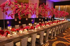 Orchids suspended over the table at Mandarin Corporate event