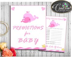 Check out PREDICTIONS FOR B.... http://snoopy-online.myshopify.com/products/predictions-for-baby-pink-whale-baby-shower-girl-sign-and-cards-activity-printable-nautical-theme-digital-files-instant-download-wbl02 #babyshowergames #babyshowerdecorations #babyshowerdecor