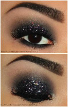 Dark glitter make-up.