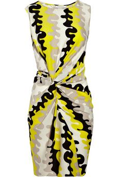 DVF alastrina wave-print stretch silk dress