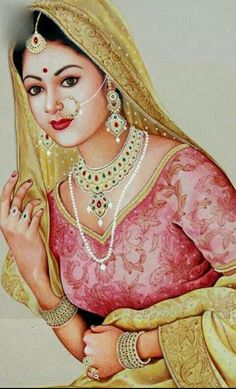 dulhan in full wear Rajasthani Painting, Rajasthani Art, Indian Women Painting, Indian Art Paintings, Indian Artist, India Painting, Woman Painting, Saree Painting, Indian Drawing